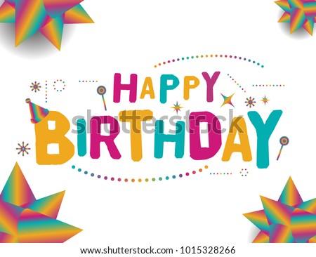 Happy birthday vector template design colorful stock vector happy birthday vector template design colorful typographic vector design for greeting cards birthday card stopboris Gallery