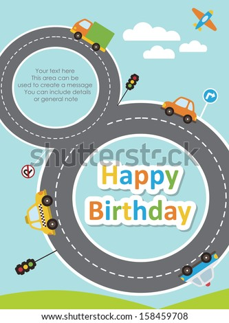 happy birthday vehicle card. vector illustration - stock vector