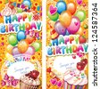 Happy birthday vertical cards - stock photo