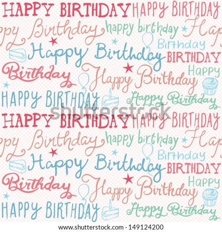 Happy birthday wishes background pattern vector - stock vector
