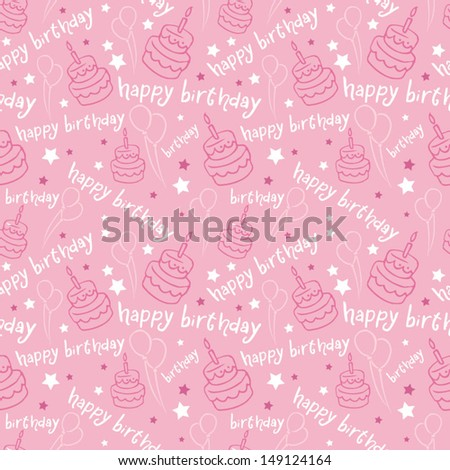 Happy birthday with cake & balloons background pattern vector - stock vector