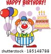 Happy Birthday With Clown Cartoon Character With Balloons And Cake With Candles. Vector Illustration Isolated on white - stock