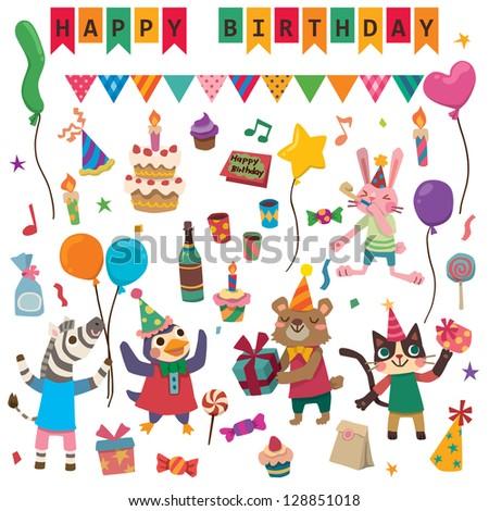 Happy Birthday With Cute Animal - stock vector