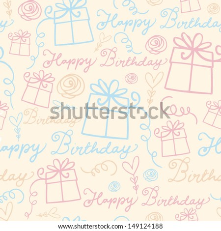 Happy birthday with presents background pattern vector - stock vector