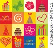 Happy birthday wrapping paper seamless pattern in vector - stock vector