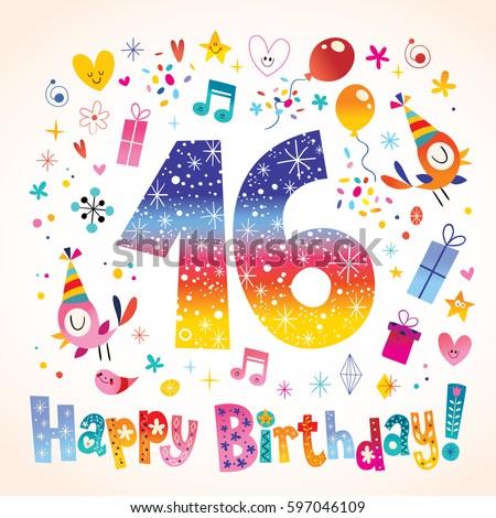 Happy Birthday 16 Years Teen Greeting Stock Vector Royalty Free