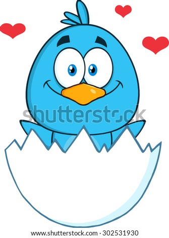 Happy Blue Bird Cartoon Character Hatching From An Egg With Hearts. Vector Illustration Isolated On White - stock vector