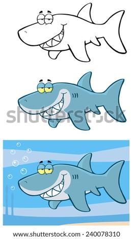 Happy Blue Shark Cartoon Character Flashing. Vector Collection Set - stock vector