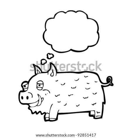 happy boar with thought bubble