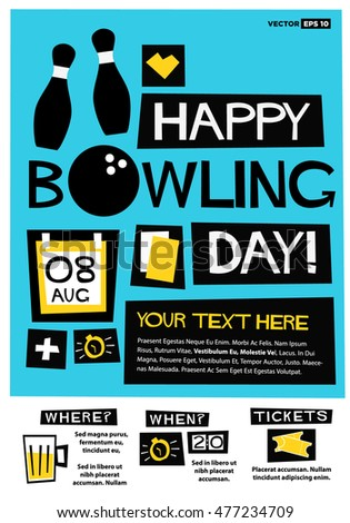 Happy Bowling Day 8th Aug Flat Stock Vector 2018 477234709