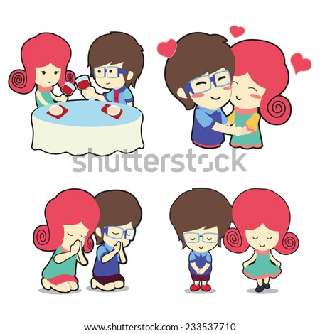Happy boy and girl couple in many poses cartoon vector - stock vector