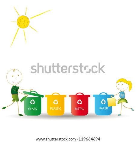 Happy boy and girl earth protection and think green - stock vector