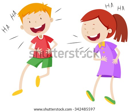 Happy boy and girl laughing illustration