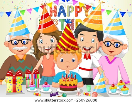 Happy boy blowing birthday candles with his family - stock vector