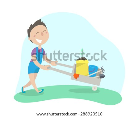 Happy boy carries a cart with garden tools. Flat design. Vector illustration.