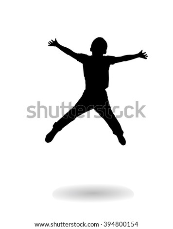 Happy Boy jumping. Vector illustration. Black silhouette isolated on white background. Children Holiday, school, Sport. For Art, Print, web graphic design. - stock vector