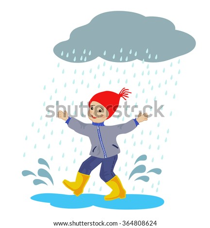 Happy boy running around in the rain puddles on white background - stock vector