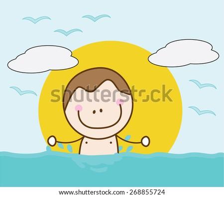 Happy boy swimming - stock vector