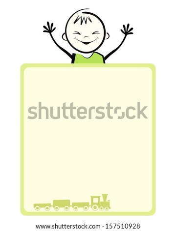 Happy boy. Vector illustration with place for your text. - stock vector