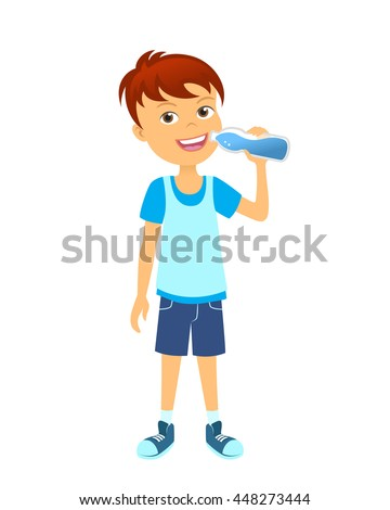 Happy boy with bottle of water. Children drinking water - stock vector