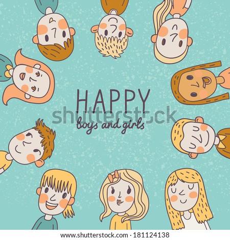 Happy boys and girls. Cute cartoon card in vector - stock vector