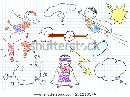 Happy boys in costumes of superheroes. Sketch on notebook page - stock vector