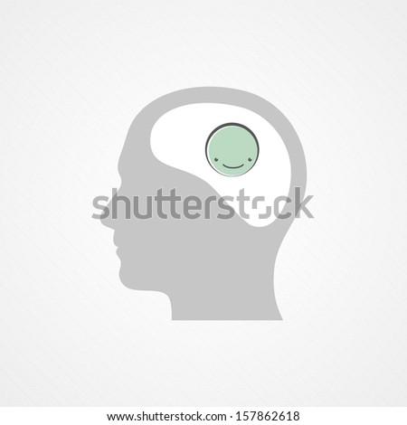 Happy brain - stock vector