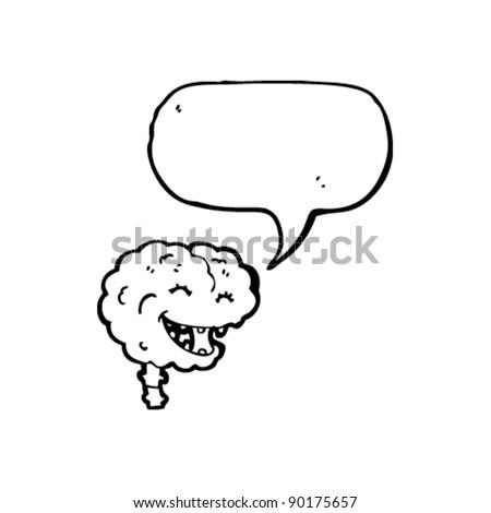 happy brain cartoon  with speech bubble - stock vector