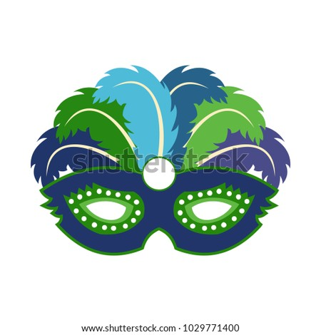 Happy Brazilian Carnival Day. blue carnival mask with colorful feathers on white background