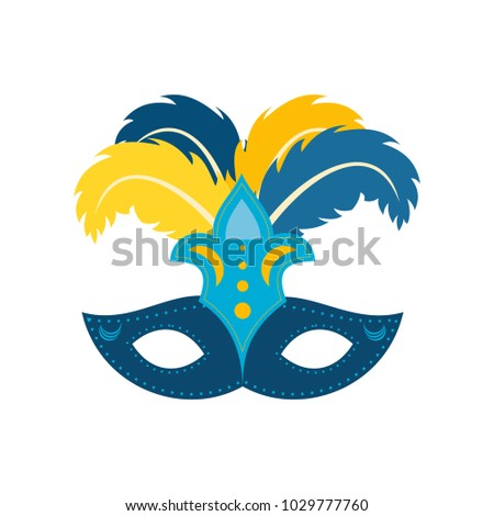 Happy Brazilian Carnival Day. Blue color carnival mask with colorful feathers on white background