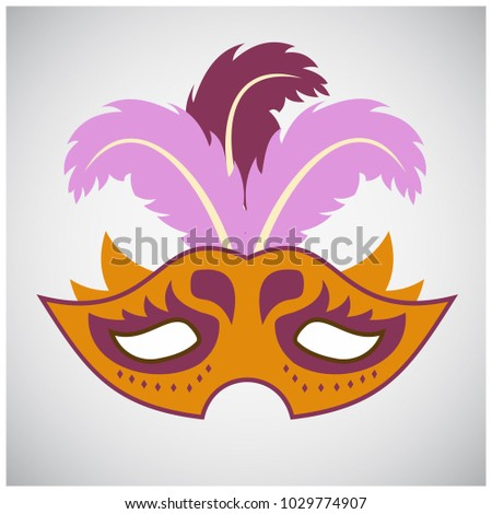 Happy Brazilian Carnival Day. Orange color carnival mask with purple design elements and colorful feathers on grey background