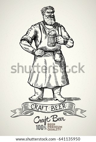 Happy brewer characters, holding a mug full of beer, illustration in engraving style.