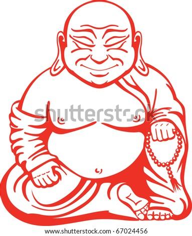 Happy Buddha - stock vector