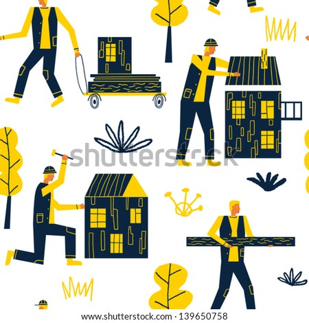 happy builders and new houses vector seamless pattern - stock vector