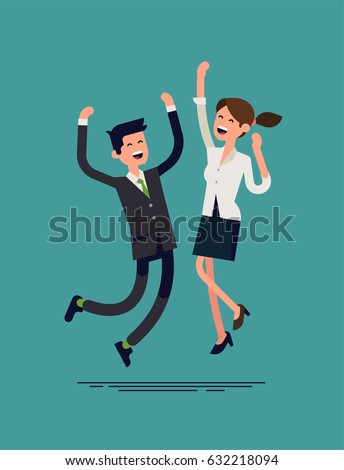 Happy business couple jumping. Business man and woman characters excited with achievement. Cool vector character design on successful adult female and male office workers jumping happy