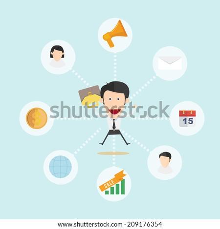Happy business man  - stock vector