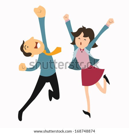 Happy business man and woman jumping in the air cheerfully. Feeling and emotion concept.  - stock vector
