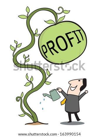 Happy business man looking cheerfully at big profit that he growing up, representing to gain profit from investment. Business concept in finance and investment.  - stock vector