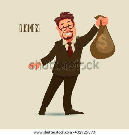 happy business man with beard and glasses holding a money bag with dollar sign, cartoon character, success, profit, vector illustration