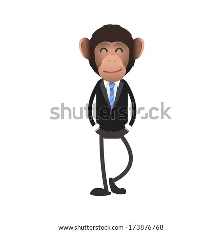 Happy business monkey over isolated background. Vector design.  - stock vector