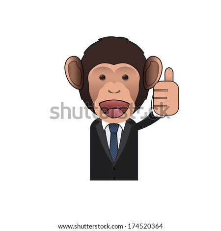 Happy Business monkey with his thumb up over isolated background. Vector design.  - stock vector