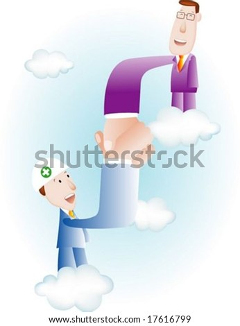 Happy Business People - amicable agreement between young labor and smiling management on blue background : vector illustration - stock vector
