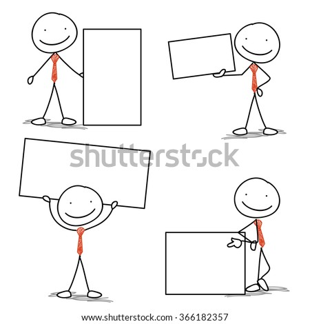 happy business stick man set holding board
