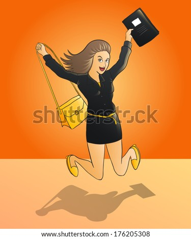happy business woman jumping on orange background - stock vector