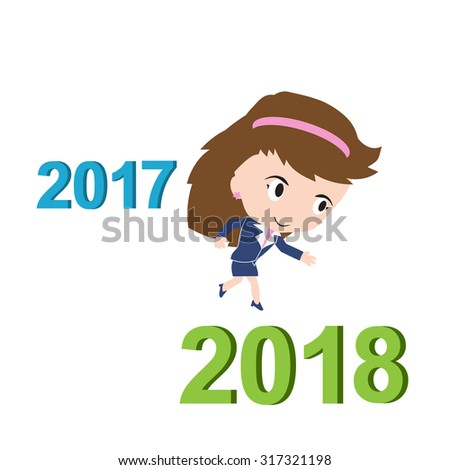 Happy business woman running from 2017 to 2018, new year success concept, vector