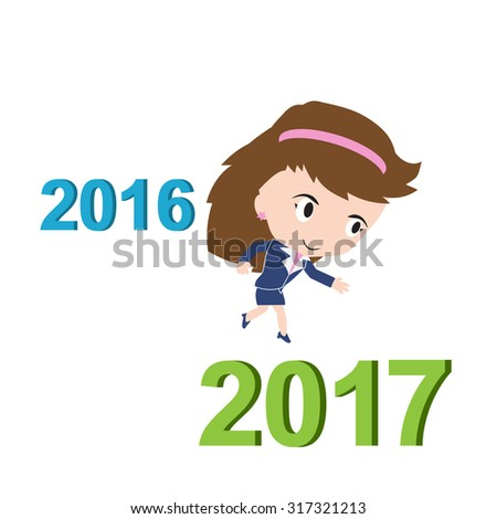 Happy business woman running from 2016 to 2017, new year success concept, vector