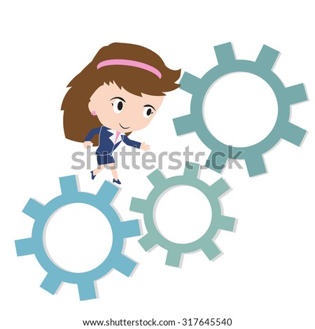 Happy business woman running on gear, business working concept