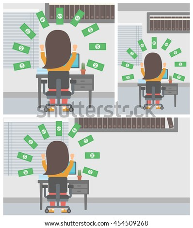 Happy business woman with raised hands celebrating while sitting at workplace under money rain. Successful business concept. Vector flat design illustration. Square, horizontal, vertical layouts.