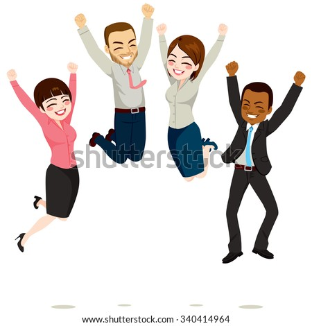 Happy business workers jumping celebrating success achievement - stock vector
