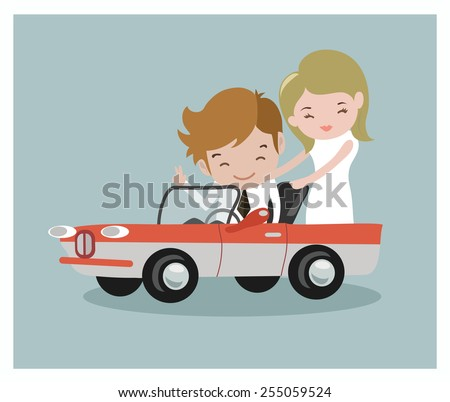 Happy businessman and his girl friend drive retro car,business and finance concept - stock vector